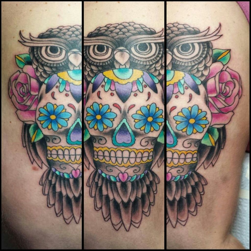 Owl Sugar Skull Tattoo On We Heart It