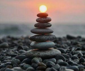 stones, beach, and sky image