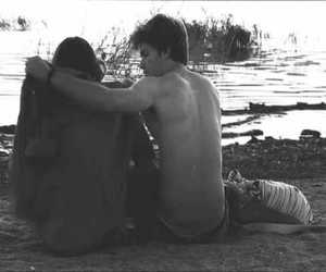 couple, cute, and black and white image