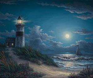 night sky and Oil Painting image