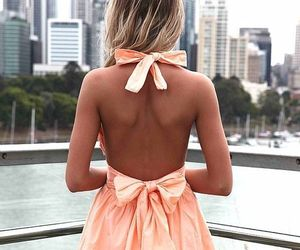 back, bow, and cute dress image