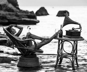 girl, beach, and relax image