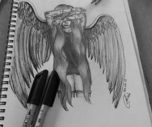 angel, art, and wing image