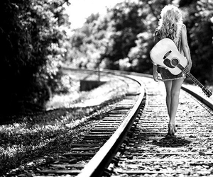 girl, guitar, and alone image