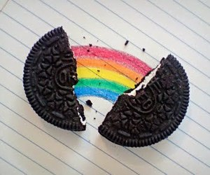 oreo, rainbow, and food image