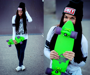 obey, girl, and skateboard image