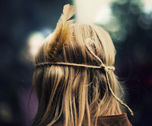girl, hair, and feather image