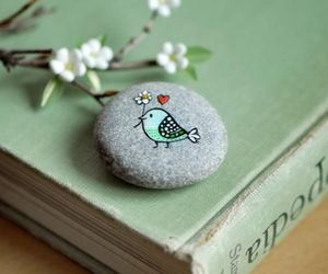 book, bird, and stone image