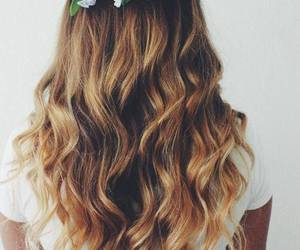 curly, hair, and flowers image