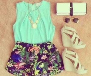 fashion, sandals, and floral print image