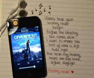 divergent, Ellie Goulding, and beating heart image