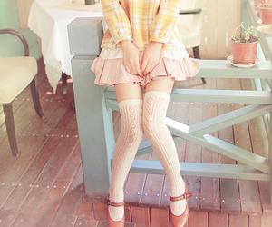 fashion, skirt, and thigh high socks image