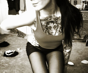 brunette, girl, and sepia image