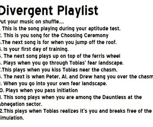 music, divergent, and playlist image