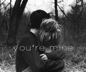 couple, hug, and mine image
