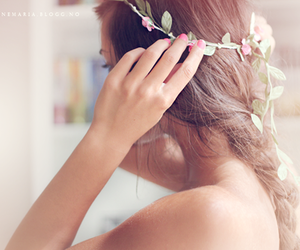 braid, floral, and hair image