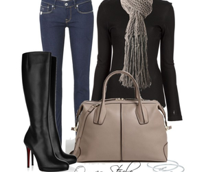 clothes, outfit, and scarf image