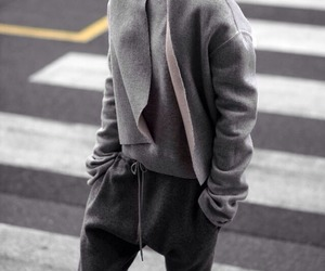 model, grey outfit, and swearpants image