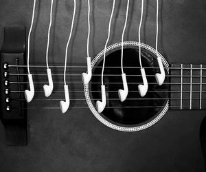 music, guitar, and headphones image