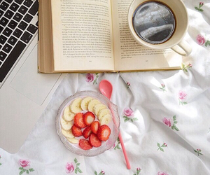 bed, book, and coffee image