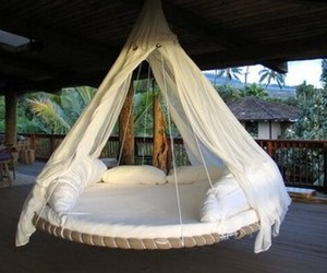 bed, cozy, and hammock image