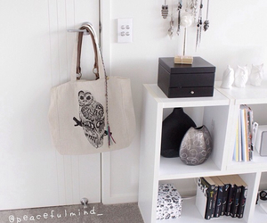 bags, bedroom, and owls image
