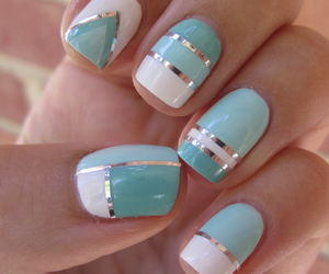 blue, nail art, and love it image