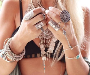 bohemian, Braclets, and rings image