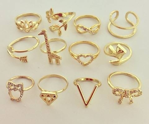 gold, golden, and rings image