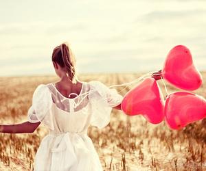 baloon, girl, and pink image