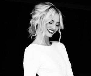 dress, smile, and black and white image