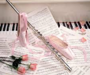 music, ballet, and rose image