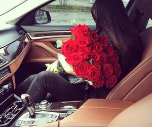 rose, car, and girl image