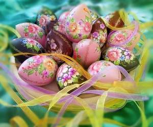 eggs, flowers, and happy easter image