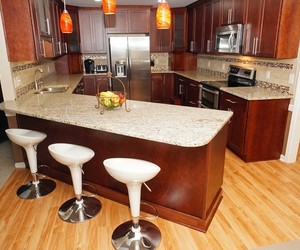kitchen, open floor concept, and long kitchen bar image