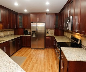 kitchen, open floor concept, and mosaic tile backsplash image