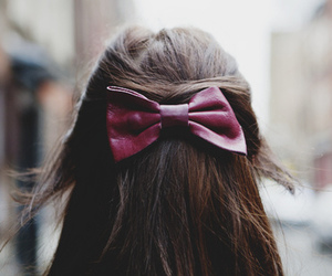 hair, bow, and vintage image