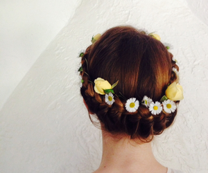 flower, hair style, and plait image