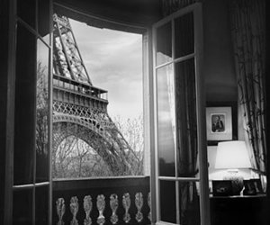 paris, black and white, and window image