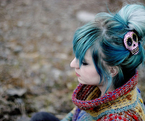 girl, hair, and blue hair image