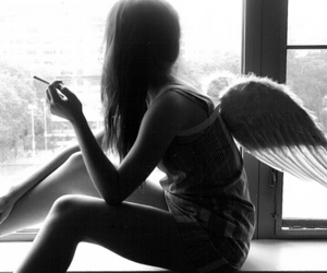 casual, girl, and wings image