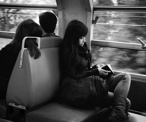 girl, train, and book image