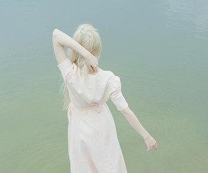 girl, water, and pale image