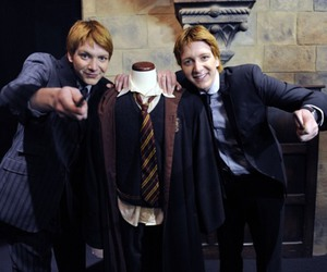 fred and george, harry potter, and james and oliver phelps image