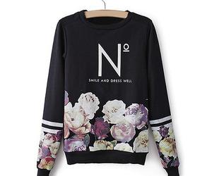 flowers, sweater, and sweatshirt image