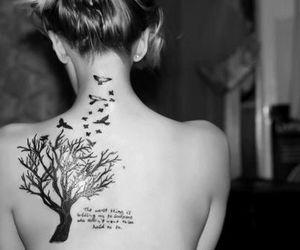 tattoo, tree, and bird image