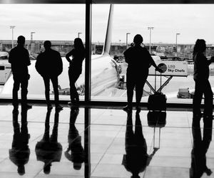airport, black & white, and funny image