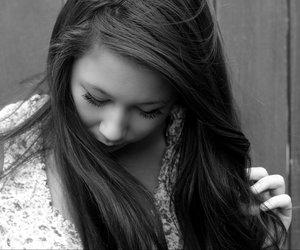 black and white, girl, and eyelashes image