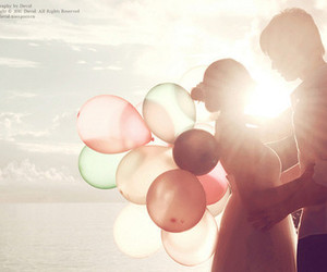 balloons, couple, and lights image