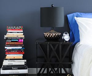 bedroom, bedside table, and black image